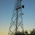 Microwave tower at sunset.